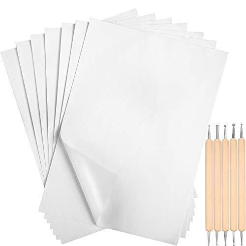 100 Pezzi Carta per Trasferimento di Carbonio Bianco 11.7 x 8.3 Pollici Carta da Lucido in Carbonio per Copia con 5 Pezzi Stilo in Rilievo Strumenti di Punteggiatura per Stoffa Tela Carta Legno
