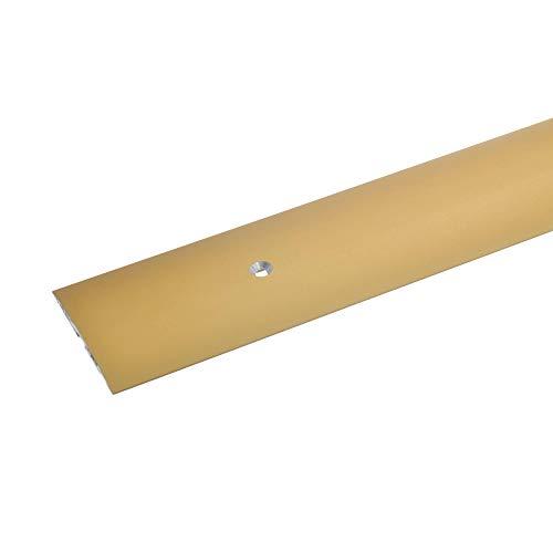 acerto 35948 Übergangsprofil aus Aluminium, mittig gebohrt, 100 cm - gold * 4x50 mm * Robust * Kratzfest | Übergangsleiste für Teppich, Laminat & Parkett | Alu Übergangsschiene