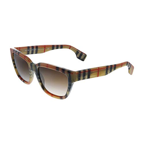 Burberry BE 4277 377813 Burberry Print Plastic Square Sunglasses Brown Gradient Lens