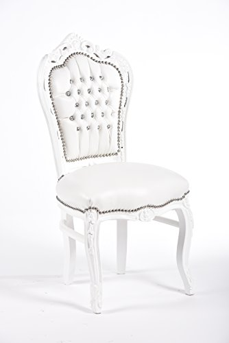 Way Home Store Chaise baroque style français Louis XVI blanche en similicuir