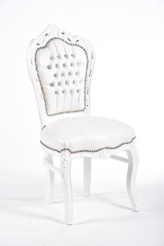 WAY HOME STORE Sedia Barocco Stile Francese Luigi XVI Bianca in Ecopelle