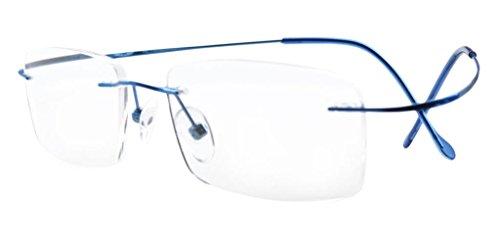 Eyekepper Gafas de lectura de tiranio marco sin borde para mujeres o hombres azul +0.75