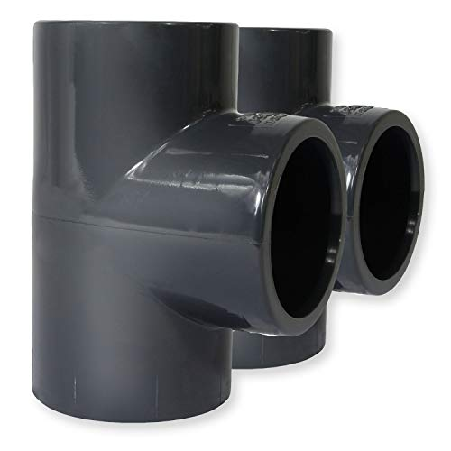 Paradies Pool PVC Fitting T-Stück Ø 50mm 90° mit Klebemuffen, Qualität aus Europa, Menge: 2 Stück
