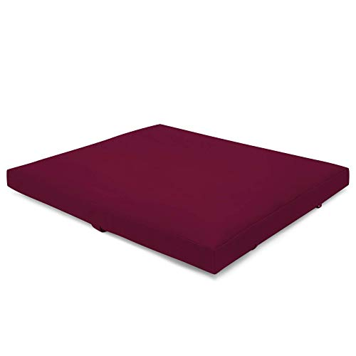 Present Mind Zabuton Esterilla Yoga y Meditación (Color: Borgoña) - Colchoneta Plegable (70 x 82 x 6-8 cm) - Hecha en la UE - Colchoneta Gimnasia y Meditación Acolchada con Funda Lavable 100% Natural