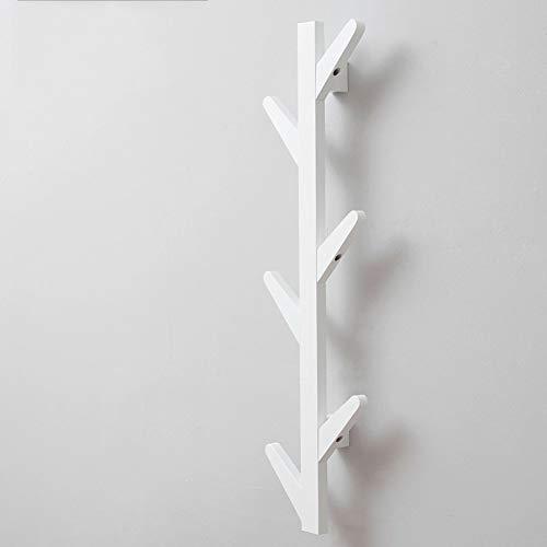 GGYDD Bambú Madera Pared-montado Perchero Burro, Diseño De La Rama del árbol De 10 Ganchos Ropa Perchero para Chaqueta,Ropa,Billetera,Bufandas,Bolso-Blanco 78cm(31inch)