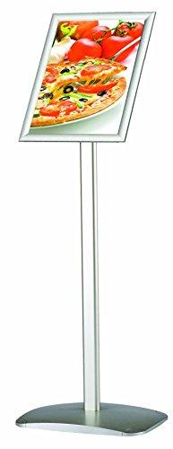 DISPLAY SALES Soporte Para Cartel DIN A4 Soportr para carteles con 210 x 297 mm. Plata Premium Diseño (1 m Altura Total). inoxidables pesado placa de aluminio; para uso de alto/Horizontal