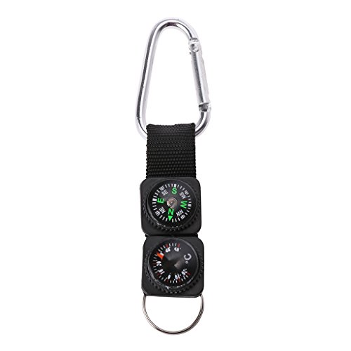 Rongzou Outdoor Sport Keychain Carabiner Travel Hiking Compass Thermometer Survival Tool