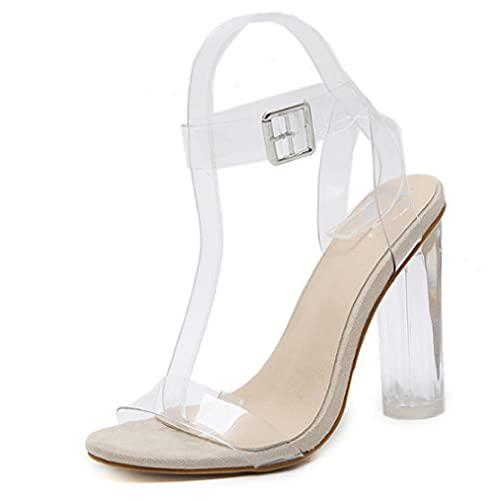 CCSSWW Sandalia de tacón Alto con Tiras Mujer,Transparente Grueso con Sandalias de tacón Alto.-Albaricoque_37,Zapatos de Punta Abierta Damas de tacón cómodo