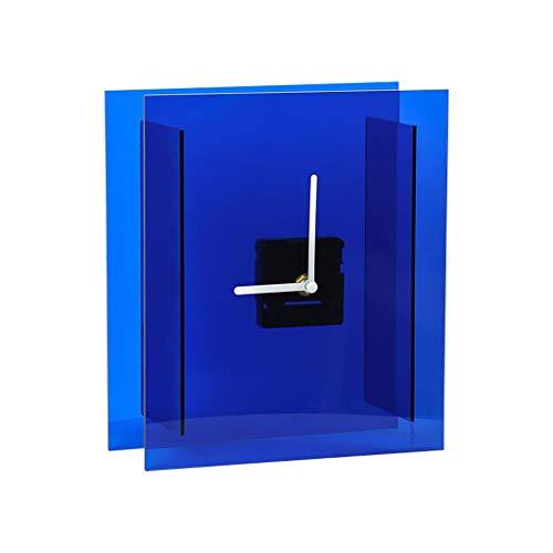 Hong Yi Fei-Shop Elegante Reloj de Mesa Casa Creativa Blue Square Clock Simple Arte Reloj Sala de Estar Dormitorio Reloj de Dormitorio Reloj de Escritorio