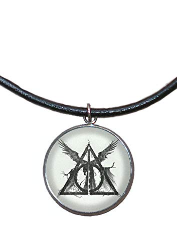 Stainless Steel Pendant, 30mm, Leather Cord, Handmade, Illustration Deathly Hallows