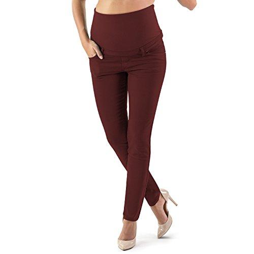 Milano Basic - Jeans Premaman Basico, Super Elastico e Comodo, vestibilità Skinny, Lavaggio Basic, Colore Denim e Nero - Made in Italy (XL, Bordeaux)