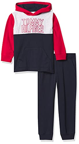Tommy Hilfiger Boys' 2 Pieces Hooded Pants Set, Navy Blazer/White Heather/Scarlet Red, 2T
