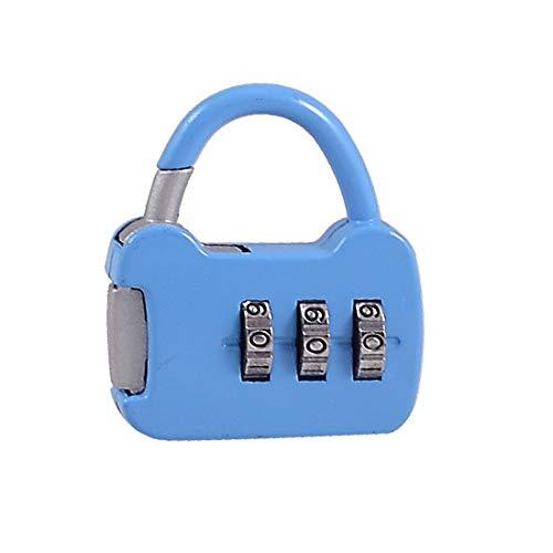New Lon0167 Bolso con Destacados forma de tres eficacia confiable dígitos Código de combinación Contraseña Candado Azul(id:bac a7 ba a9d)
