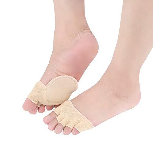 1Pair Cotton halbe Einlegesohlen Pads Toe-Deckel Socken mit Kissen Paded Toe-Abdeckung Frontfoot Socken rutschfeste Unterseite Halb Socken für Frauen Mädchen (Zehen Hälfte bedeckte das, Beige)