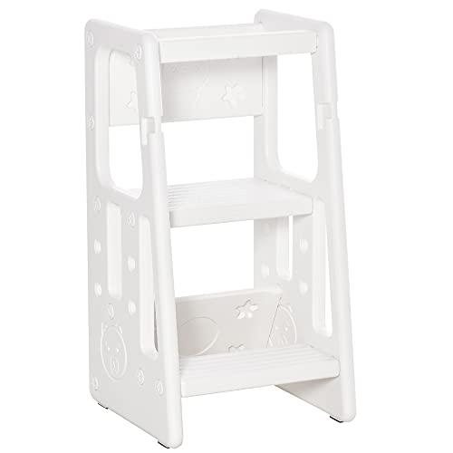 HOMCOM Torre de Aprendizaje para Niños Taburete Infantil con Altura Ajustable en 3 Posiciones y Plataforma Antideslizante para Cocina Comedor Baño 47x47x90 cm Blanco