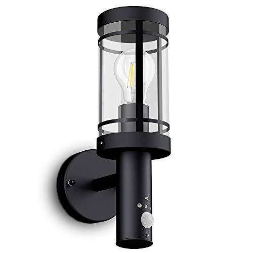 SSC-LUXon® LED Wandleuchte MOVI - Laterne mit Bewegungsmelder für Außen IP44 in schwarz inkl. OSRAM LED Birne E27 6W warmweiß