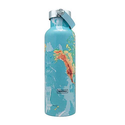 NERTHUS FIH 767 Botella Termo Tapón Asa Doble Pared para frios y Calientes diseño Mapamundi de Acero Inoxidable 750 ml, Libre de BPA, 18/8, Multicolor