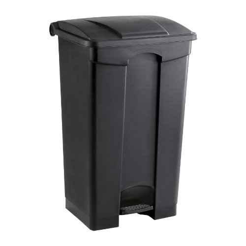 Safco Products Plastic Step-On Trash Can 9923BL, Black, Hands-free Disposal, 23-Gallon Capacity