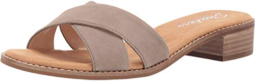 Skechers Women's Petaluma-Criss Cross Slide Sandal, Taupe, 5 M US