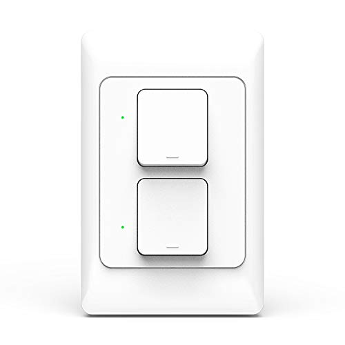 Zigbee 3.0 Push Light Switch APP Control Physical Wall Switches,AC100-250V Zigbee in-Wall Switch Lighting Control,Neutral Required(2 Gang)