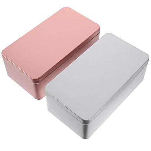 Cabilock 2 Piezas de Latas de Metal Rectangulares con Tapa Cajas de Metal de Navidad Caja de Contenedores para Té de Navidad Velas Dulces Regalos Bálsamos Caja de Tesoros Plata Dorada