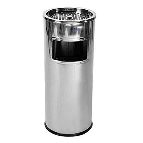 YSNUK Cubo de basura de acero inoxidable de la basura puede extinguir Humo Bins vestíbulo del hotel El hollín Ash Round Box Con Office Escalera cañón interior del edificio papelera Baño, oficina, coci
