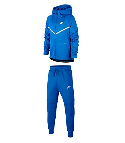 Nike Sportswear Tech Fleece Windrunner, Giacca Bambino, Blu (Signal Blue)/Bianco, L