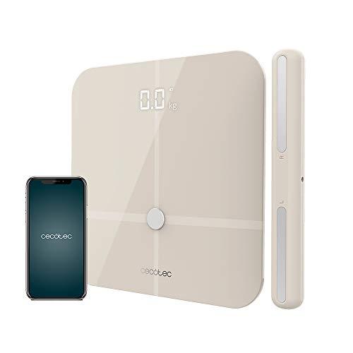 Cecotec Báscula de baño Surface Precision 10600 Smart Healty Pro Beige. Con App, Conectividad Bluetooth, Barra con sensores para medición de bioimpedancia, 15 Parámetros, Diseño extraplano