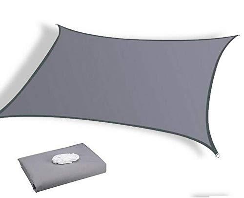 Queta Toldo Vela de Sombra 2x3m, Vela de Sombra Rectangular para Patio, Velas de Sombra Impermeable a Prueba de Viento Protección Rayos UV, Toldo de Refugio para Patio/Exteriores/Jardín (Gris)