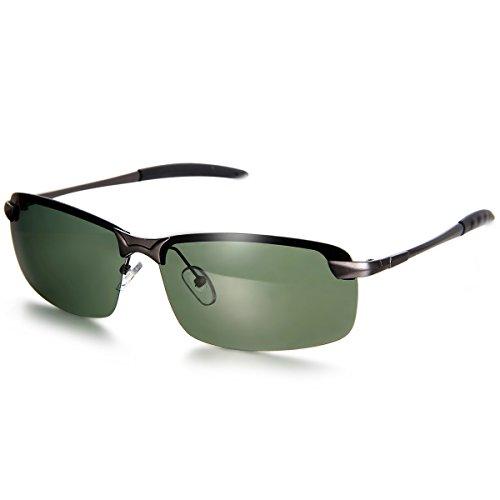 Aroncent Gafa de Sol Polarizada UV400 Semi-Marco Lente de Resina de Moda Protección de Ojos para Carreras, Viaje, Conducción, Golf, y Actividades Exteriores para Hombre Mujer Unisex (Verde)