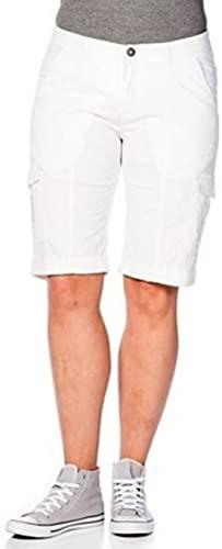 sheego Bermuda Short Hose Cargohose Sommerhose Damen Plusgröße Lagenlook Stretch, Farbe:weiß;Damengrößen:46