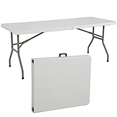Best Choice Products 6ft Indoor Outdoor Folding Portable Plastic Picnic Party Dining Camp Table w/Handle & Lock - White
