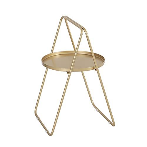 LiuWHweiXunDa Mesa auxiliar redonda con asas, moderna mesa de centro de metal con función de almacenamiento, multifuncional esquinera, dormitorio, jardín, hierro Art mesa de aperitivos (color oro)