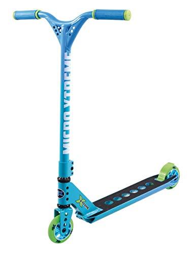 Micro, Trixx 2.0, Scooter Freestyle, Dirección integrada, Plataforma cóncava de 1305gr, Abrazadera Triple (Azul Verde)