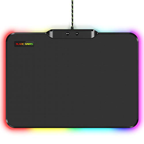 Blade Hawks RGB Gaming Mouse Mat Pad, LED Mouse Mat with Non-Slip Rubber Base, 9 Lighting Models, 14″ x 10.5″ x 0.2″ Large Computer Pad for Gamer Office Home