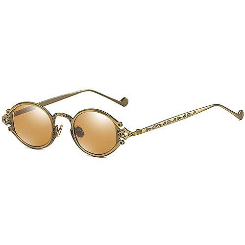 Gothic Retro Steampunk Sonnenbrille oval Vintage Sonnenbrille für Männer Frauen Metallrahmen 100% UV-Schutzglas Brille John Lennon Style Sonnenbrille