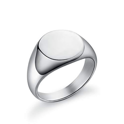 Valily Damen Herren Ringe Poliert, Edelstahl Round Siegelring Unisex Bandring Silber Größe 69