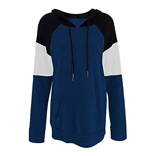 Womens Tops Winter Warm Hoodie Outwear Casual Coat Printed Soft Sweatshirt(Blue,2XL)