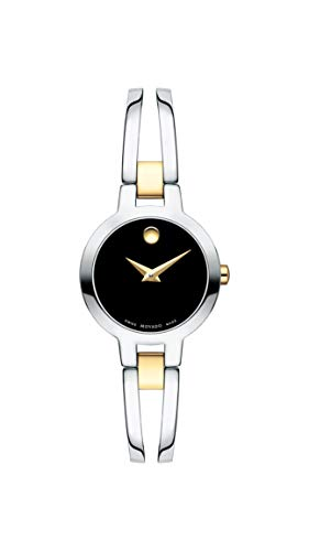 Movado Amorosa, Stainless Steel Case, Black Dial, Stainless Steel Yellow Pvd Bangle, Women, 0607184