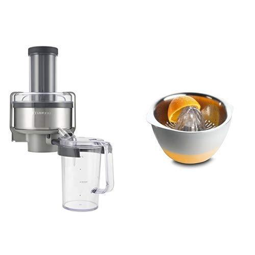 Kenwood AT641 Profi-Entsafter (Küchenmaschinen-Zubehör, Geeignet für alle Chef Küchenmaschinen) & AT312 Zitruspresse (für frisch gepresste Zitrussäfte, Küchenmaschinen-Zubehör, Geeignet )