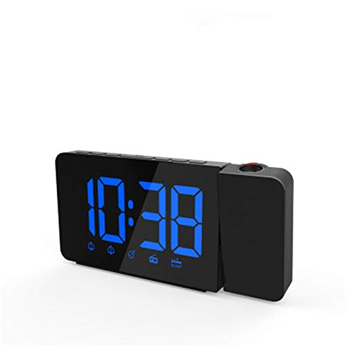 PJPPJH Projektionswecker, Wecker Mit Projektion, Digital Funkgesteuerte Uhr LED Wecker Dekoration Wecker Für Kinder Schlafzimmer Home Office Blau