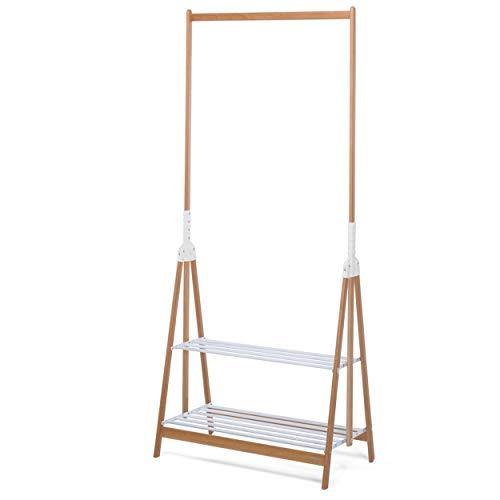 Foppapedretti Myhome Stand-Up Piantana Appendiabiti Pieghevole con Due Ripiani Porta Accessori in Alluminio Laccato Bianco, Pino