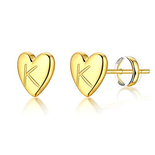 Jewlpire 925 Sterling Silver Heart Initial Stud Earrings for Girls Women - 18K Gold Plated Handmade Dainty Letter Earrings Hypoallergenic Girls Earrings for Baby Toddler Kids - Gold K Earrings