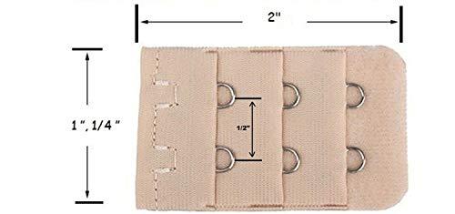 BOLDNYOUNG Women's Polyester Bra Waist Extender 2 Hook (Beige, Free Size) - Pack of 5