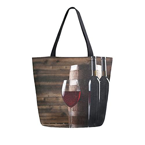 COZYhome - Bolso de lona grande, botellas de vino, bolsa de cristal, reutilizable, bolsa de compras, bolsa de hombro para mujeres, trabajo, escuela, etc
