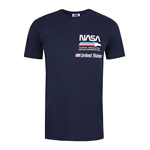 Nasa Plane Aeronautics Camiseta, Azul (Navy Navy), XL para Hombre