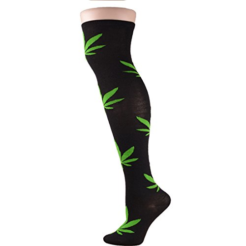 Thigh High Cotton Over the Knee Socks Sexy Black Stocking Green Leaves Pattern For Women
