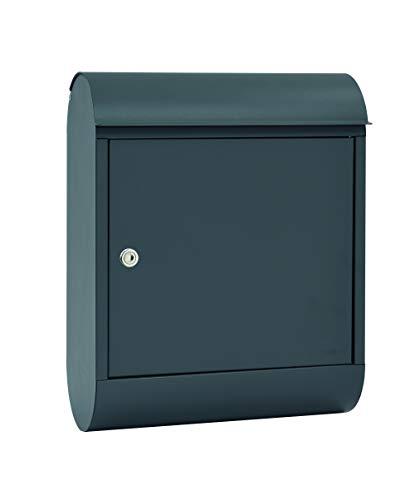 MEFA Briefkasten Topaz 842 (Farbe basaltgrau, Postkasten mit Sicherheitsschloss, Größe 430x340x150 mm) 842500M