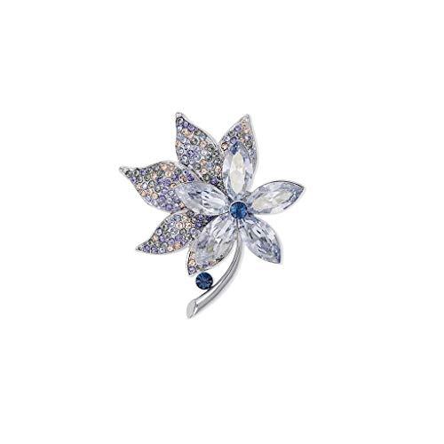 QXX Vierblättrige Kleeblattbrosche, Kristallelement, Blau, Kleidungsschmuck, Geschenkbox 4,8x4,3 cm (Color : Ink Blue)
