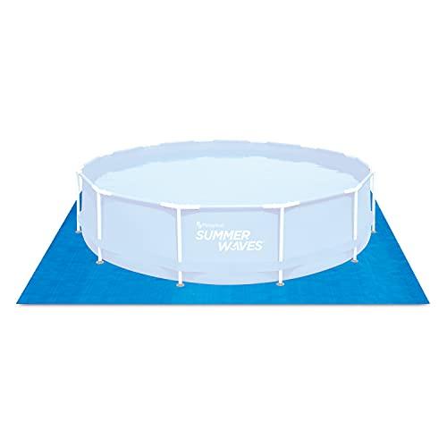 SUMMERWAVES Bodenvlies für Aufstell-Pools Tapis piscines Hors-Sol 3,91 x 3,91 m, Bleu